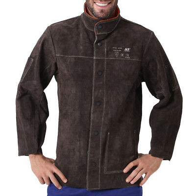 AP-5130 Heavy Duty Fire Retardant Cowhide Leather Welding Jacket w/Inside Pocket