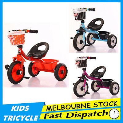 3 Wheel Bike Bicycle Tricycle Trike Basket Kids Children Toddler Outdoor Fun Toy