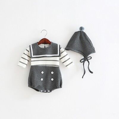 3M Grey Baby Romper Clothes Cotton Striped Jumpsuit+Hat 2PC knitted Sailor Style