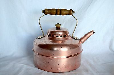 Vintage Copper Large Tea Kettle Brass And Wood Handle Country Farm Decor England