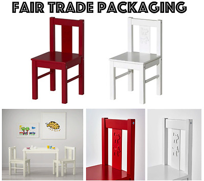 IKEA Kritter Wooden Chair White Red Kids Childrens Nursery Home Solid Wood