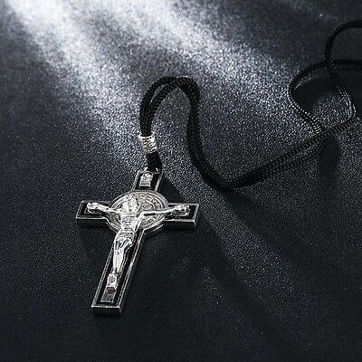 St Saint Benedict Exorcism Catholic Protection Silver Plated Medal Cross Pendant