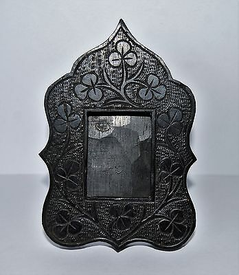 Small Antique Hand-Carved Irish Bog Oak Standing Picture Frame