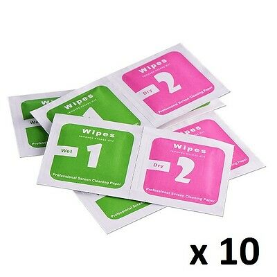 10 x Wipes - Camera Lens Phone Screen Dust Dry Wet Cleaning Cloth Paper Wipes