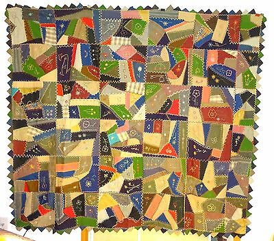 Antique Embroidered Wool Crazy Quilt Top on Backing 70 x 80