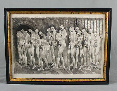 Holocaust Art Figural Charcoal Sketch Drawing Gas Chambers