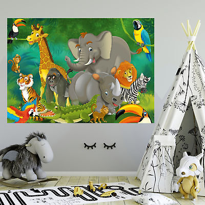 fototapete kinderzimmer safari dschungel tiere abenteuer tapete 210 x 140 cm eur 19 95. Black Bedroom Furniture Sets. Home Design Ideas