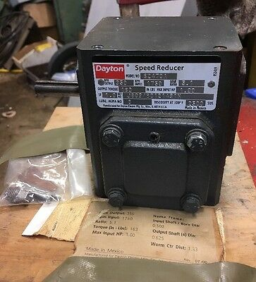 Dayton Speed Reducer Gear Box Electric Motor 1HP 5:1 1750 To 350rpm 6Z470A