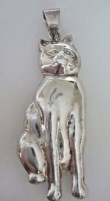 "Large .925 Sterling Silver 3-D Cat Pendant  -  2 1/4"" long"