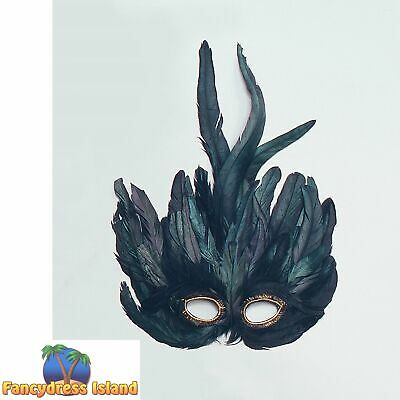 MASQUERADE BLACK RAVEN FEATHER EYE MASK - womens ladies fancy dress accessory
