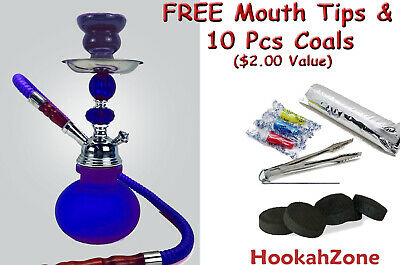 "Small 11"" Black GEM Hookah Pumpkin Water Shisha Huka Pipe 10 Pcs Coal Tip 1 Hose"