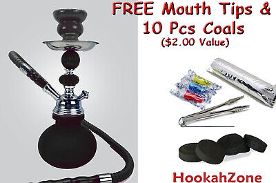 "2 Hose 10"" Tall Red Hookah Pumpkin Shisha Smoking Pipe Coal Small Mini Nargila"
