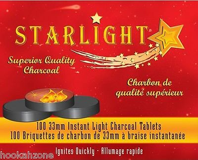 100 Pcs STARLIGHT 33 MM  Hookah Charcoal Quick Lite coal Incense 10 Rolls