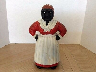 """Vintage 11.5"""" Tall Aunt Jemima Cast Iron Coin Bank"""