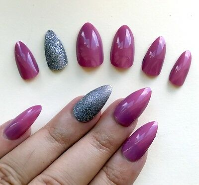 Hand Painted False Nails STILETTO (or ANY SHAPE) High Gel Watermelon Pink Silver