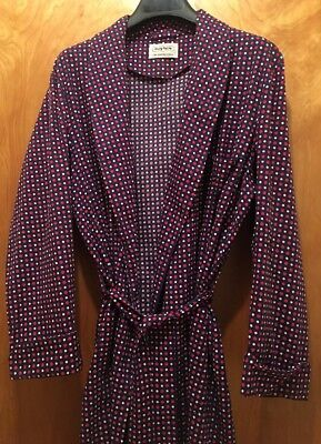 Sm/Md Vintage 1960s ROYTEX Cotton RED WHITE BLUE Polka Dot ROBE Dressing Gown