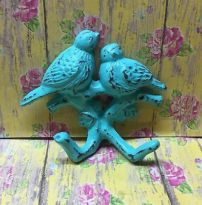 Cast Iron Double Bird Hook Bahama Blue Distressed Towel Cup Keys Dog Leash