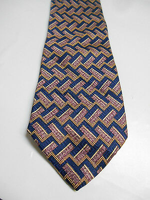 Countess Mara Blue Purple and Gold Geometric Silk Necktie Made in Italy