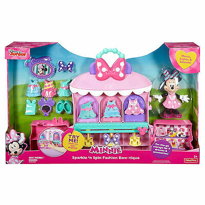 NEW Disney Junior Minnie Mouse Sparkle 'n Spin Fashion Bow-tique music lights
