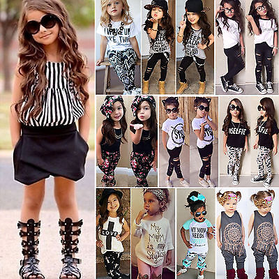 Toddler Baby Kids Girls T Shirts Tops Pants Trousers Summer Outfits Clothes Set