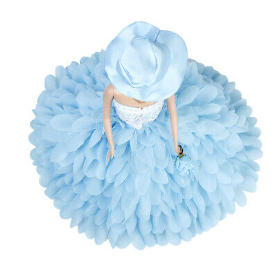 2 Pcs Princess Gown Bridal Lace Dress with Hat Flower for 1/12 Dolls
