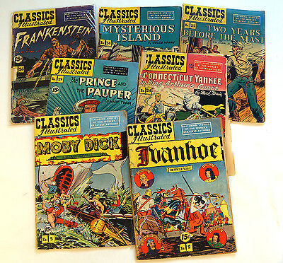 Classics Illustrated lot of  7 early editions - #2, 5, 24, 25, 26, 29, 34