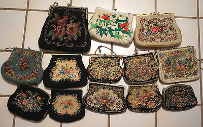 Antique Petit Point Needlepoint Embroidered Purse Handbag Lot of 13