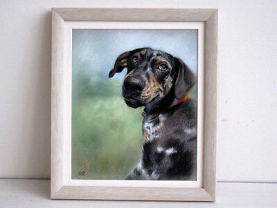 Custom oil portrait painting of dog on canvas. Commission memorial illustration
