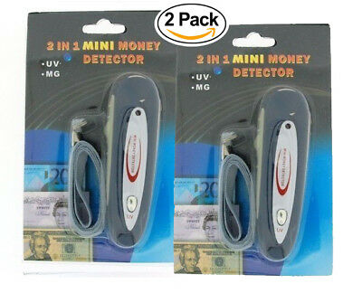2 Pack 2 in 1 Mini Counterfeit Money Dollar Bill Detector & Currency Checker