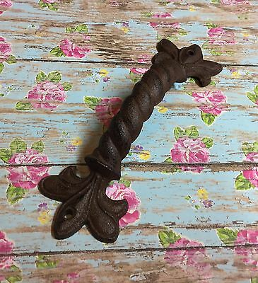 1 Large Ornate Iron Gate Barn Door Pull FDL Barley Twist Swirl Handle Rustic