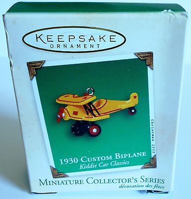 "2002 Hallmark Miniature Ornament ""1930 Custom BiPlane"" Kiddie Car Classic MIB"