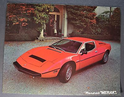 1978-1979 Maserati Merak SS Sales Brochure Sheet Excellent Original
