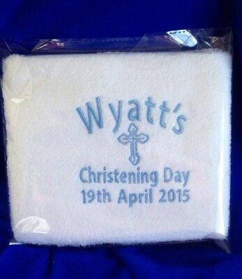 Baby Boy Kids Baptism Christening Name Day Hand towel YOUR Name Details