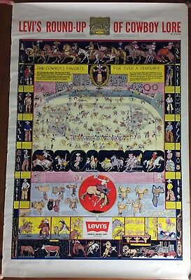 "Vintage Levi's Poster ""levi's Round-Up Of Cowboy Lore"" By Jo Mora"