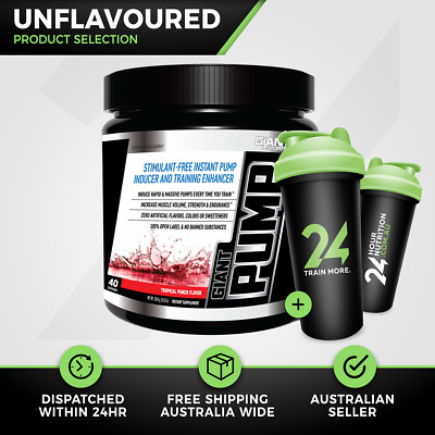 Giant Sports Giant Pump | 40 Srv Unflavoured | Non Stim Pre Workout | Free Gift!