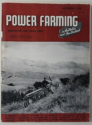 VINTAGE Agriculture: Power Farming Magazine Oct 1952 Vol 61 No 10, Good