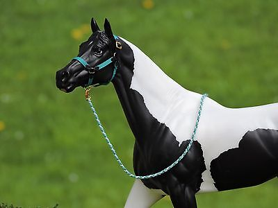 Black & Teal Halter Traditional sized Breyer Peter Stone with Lead Rope