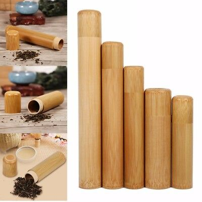 Natural Round Bamboo Sealed Tea Box Candy Dried Foods Jar Container Storage Hold