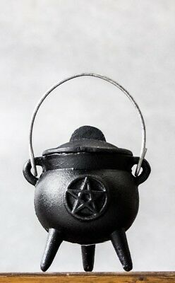 Gothic Goth Pagan Wiccan Ritual Pentacle Small Cast Iron Cauldron Incense