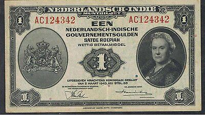NETHERLAND INDIES 1943 1,2 1/2,5 and 10 GULDEN BANKNOTES