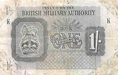 British Military Authority  1/-  ND. 1943  Series K Circulated Banknote SD0717S