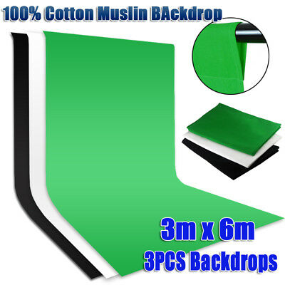 Photography 3x6m Black White Green Backdrop Muslin Background f Studio Lighting