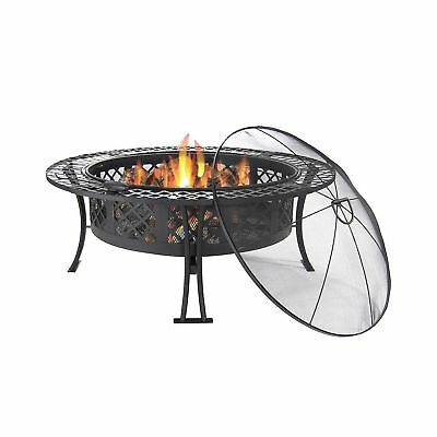 Diamond Weave Large Patio Fire Pit with Spark Screen 40 Inch Diameter by Sunn...