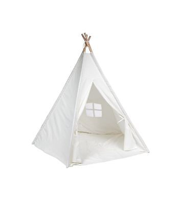 DeceStar White Color with Bottom and Window Kids Teepee Indoor Playhouse