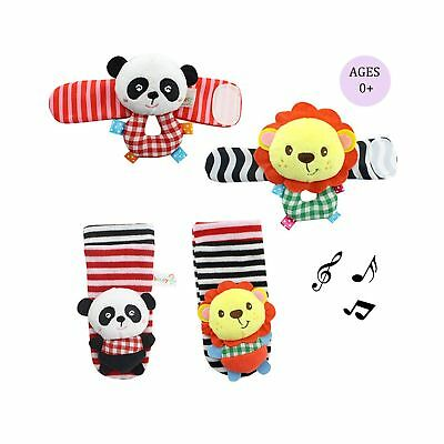 Daisy 4 Animal Baby Wrist Rattle and Foot Finder Socks Set Development Toys G...