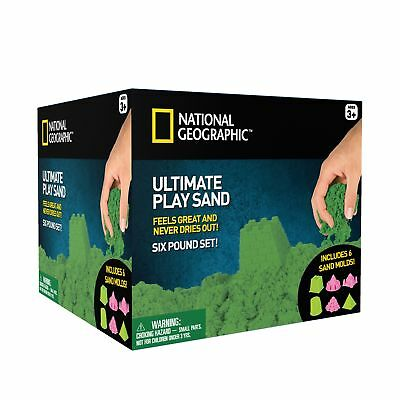 National Geographic Play Sand - 6 LBS of Sand with Castle Molds (Green) Green