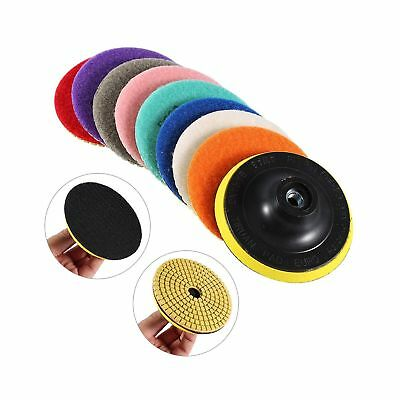 "Wet Dry 4"" Diamond Polishing Pads 9 Piece Set + Rubber Backer for Granite Con..."