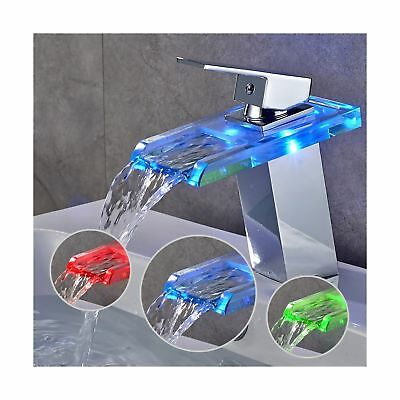 AuraLum Basin LED Faucet Waterfall with Single Handle for Bathroom Vanity Sin...