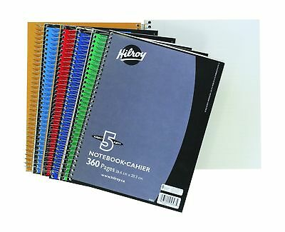 Hilroy Coil 5-subject Notebook Wide Ruled 10.5 X 8 Inches 360 Pages Assorted ...