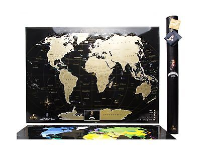 """Black Scratch World Map """"MyMap Black Edition"""" w Large USA Canada States Perso..."""